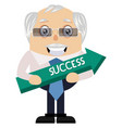 old man wit arrow sign on white background vector image vector image