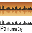 Panama City skyline in orange background vector image vector image