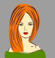 Posh Red Hair Girl with Red Lipstick in G vector image vector image