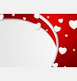 red abstract waves and white hearts vector image
