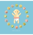 Set of flat design pastel cute baby icons vector image vector image