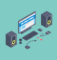 set of isometric computer devices icons vector image vector image