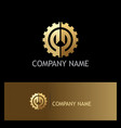 shape gear work gold company logo vector image