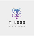 space force logo design t initial galaxy rocket vector image
