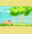 spring landscape city park the sitting girl on vector image vector image