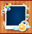 summer background with photo frame vector image