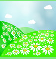 summer landscape with green grass sun and clear vector image vector image