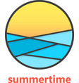 summertime sign with waves and sunset vector image vector image