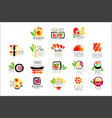 Sushi bar logo design set of colorful watercolor