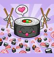 sushi cartoon character eating vector image vector image