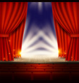 theater opera cinema scene with red curtains vector image vector image
