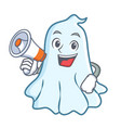 with megaphone cute ghost character cartoon vector image vector image