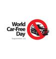 world car free day logo template design vector image vector image