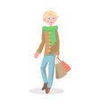 young man shopping flat cartoon icon vector image vector image