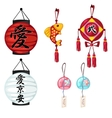 Chinese paper lanterns and other oriental symbols vector image