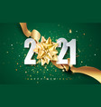 2021 green happy new year background with vector image vector image