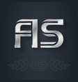 a and s initial silver logo aa - metallic 3d icon vector image vector image
