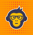 ape monkey with glasses sticker print vector image vector image