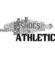 athletic shoes for little feet text word cloud vector image vector image