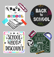 back to school doodle label set vector image vector image