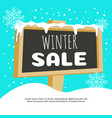 banner square winter sale with big snowy board vector image vector image
