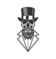 bearded hipster skull in vintage monochrome style vector image vector image