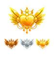beautiful decorative metal heart icons set vector image vector image