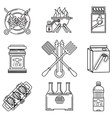 Black line icons for picnic vector image vector image