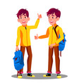 boy with school bag holding thumb up vector image vector image