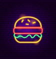 burger neon sign vector image