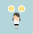 businesswoman with bitcoin or dollar choice vector image