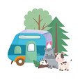camping cute cow donkey trailer forest trees vector image
