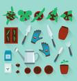 cartoon color plants top view icon set vector image vector image