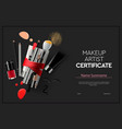 certificate makeup artist education makeup school vector image