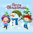 christmas theme with girls and snowman vector image vector image