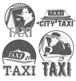 Collection of retro taxi logotypes vector image vector image