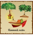 Comfortable hammock tree and lamp vector image