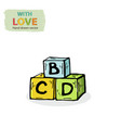 cubes blocks kids toy isolated on a white vector image