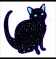 cute funny cosmic psychedelic silhouette cat vector image vector image