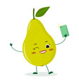 cute pear green cartoon character with a vector image