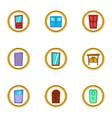 different door icons set cartoon style vector image vector image