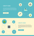 flat icons water isle beach eco energy and other vector image vector image