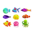 Funny cartoon colorful tropic fishes vector image