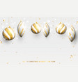 gold and white christmas balls with golden garland vector image vector image