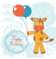Happy birthday card with happy cow holding vector image