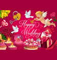 happy wedding marriage gifts cake and hearts vector image vector image