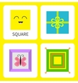 Learning square form shape Smiling face Cute vector image vector image