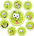 lime icon cartoon with funny faces isolated on vector image vector image