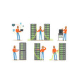 man engineer working in server room digital vector image