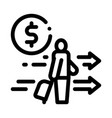 man with suitcase with money icon outline vector image vector image